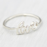 Fall Sale Sterling Silver Love Ring - Promise Ring - Girlfriend Ring - Friendship Ring - Love Jewelry - Gift for Her - Silver Ring