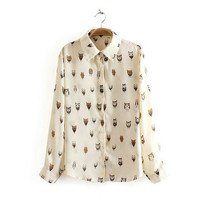 Cream Owl Patterned Long-Sleeve Collar Chiffon Blouse