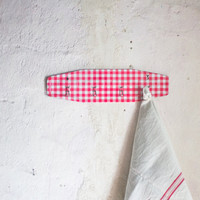 French Kitchen Towel Hook in Red Gingham Checkered Print