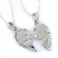 Mini Silvertone with Clear Crystal Rhinestones Best Friends Pendants Necklace Set of 2 Fashion Jewelry
