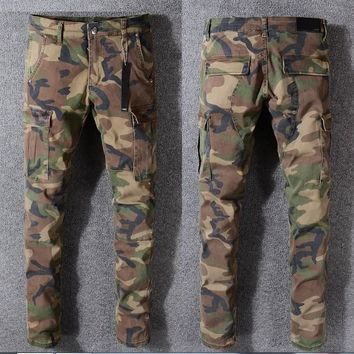 NEW 2018 JAY-Z CAMO PANTS SLIM TYGA camo Justin Bieber camo jeans trousers hip-hop fashion NEW KANYE WEST Fear of god Camouflage