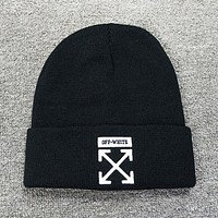 Off White New fashion embroidery arrow letter couple cap hat Black