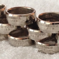 State Quarter Coin Rings Choose Your State SILVER