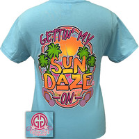 Girlie Girl Originals Gettin My Sun Daze On Sky Blue Bright T Shirt