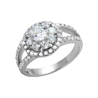 Dreamlover - FINAL SALE .80 CT. Equivalent and Cubic Zirconia Floral Shaped Crystals Engagement Ring