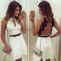 White Back Lace Pattern Halter Dress with Bow-knot Belt