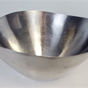 Mid Century Modern Stainless Steel Bowl Vintage Asymmetrical Metal Bowl Dolphin, Dansk Danish Stainless Steel Fruit Bowl MCM Kitchen Decor