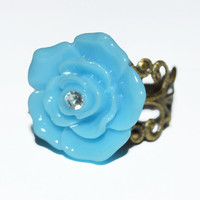 Filigree bronze adjustable blue flower ring vintage chic rings cocktail jewelry affordable gift