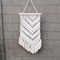 Unique wall decor Unique home decor Asymmetrical macrame wall hanging Organic tapestry Gypsy wall art Gypsy home decor Pastel tribal decor