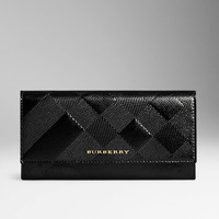 BURBERRY EMBOSSED CHECK LONDON LEATHER CONTINENTAL WALLET
