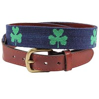 Shamrock Needlepoint Belt in Dark Navy by Smathers & Branson