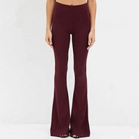 DCCKH3L Women Simple Fashion Bodycon Solid Color Flares Trousers Leisure Pants