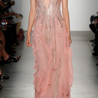 Embroidered Tulle Gown With Crinkle Chiffon Flounce Panels | Moda Operandi