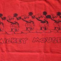 Vintage 80s Mickey Mouse T-shirt - Retro Red Cotton Disney Tee Size S Small