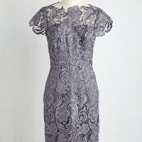Long Cap Sleeves Sheath Wine and Divine Dress in Charcoal by ModCloth