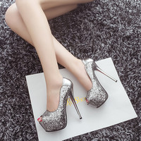Fashion sexy sequins Fish mouth heels 3168RT