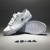 """""""Lacoste"""" Men Simple Casual Fashion All-match Low Help Cowhide Plate Shoes Small White Shoes Sneakers"""
