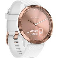 Garmin vivomove HR Sport Watch (Small-Medium, Rose Gold with White Silicone Band)