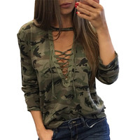 Autumn Lace Bandage Camouflage T-shirts For Women Sexy Long Sleeves Clothes Hollow Out Army Green Shirts Top