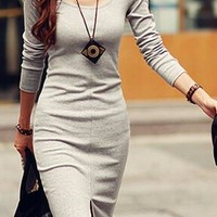Solid Color Side Slit Knitted Casual Scoop Neck Long Sleeve Dress