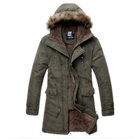Partiss Mens Thick Slim Fit Zip Hooded Jacket