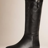 Check Detail Leather Riding Boots