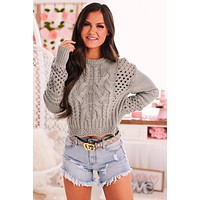 Admired By You Cable Knit Sweater (Grey)
