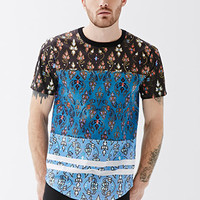 Colorblocked Floral Mesh Tee