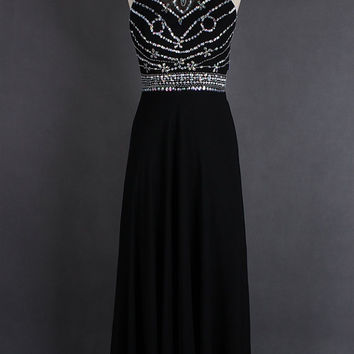 Long Black Prom Dress Sheer Neck Backless Crystal Sleeveless Chiffon Wedding Party Dress Women Evening Party Dress
