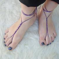 Barefoot Sandals, Foot jewelry,  Yoga, Anklet , Bellydance, Steampunk, Beach Pool, Wedding, Sexy. Bridesmaid