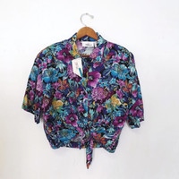 Vintage UNWORN Retro Floral Worthington Hawaiian Luau Cropped Top Button up Belly Shirt Tie Waist Size Large Tiki Top Punk Hipster 50s Style