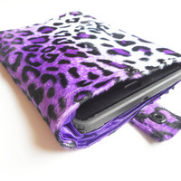 Purple Leopard Print iPad Mini Sleeve with Sateen Lining, ready to ship.