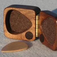 Personalized guitar pick box ooak black walnut hard wood felt lined magnetic latch perfect Fathers day gift