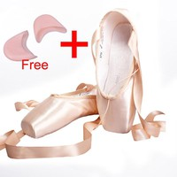 Satin Canvas Pointe Shoes With Ribbon And Gel Toe Pad Girls Women's Pink Professional Ballet Dance Pointe Toe Shoes 31-40W
