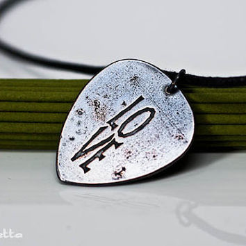 """LOVE - guitar pick necklace - large - """"Classy Pick"""" brand - love quotes guitar gifts for boyfriend, son, dad"""