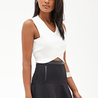 FOREVER 21 Fluted Faux Leather-Trimmed Skirt Black