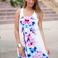 CHASING PARADISE DRESS , DRESSES, TOPS, BOTTOMS, JACKETS & JUMPERS, ACCESSORIES, SALE, PRE ORDER, NEW ARRIVALS, PLAYSUIT, COLOUR, GIFT CERTIFICATE,,White,Print,SHIFT,SLEEVELESS Australia, Queensland, Brisbane