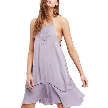 Free People - Heat Wave Embroidered Tunic Dress in Lilac