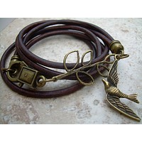 Branch and Swallow Steampunk Womens Leather Wrap Bracelet