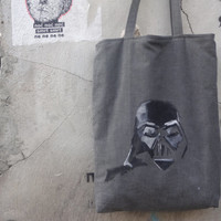 christmas sale  Canvas Tote Bag Darth Vader Hand Painted