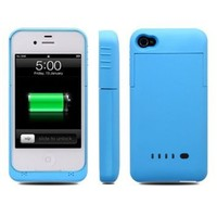 Baixt iphone 4 / 4s External Rechargeable Spare Backup Extended Battery Charger Pack Case Cover for Apple iphone 4s (Blue)