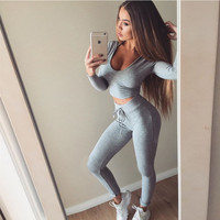 Solid Color Cropped Long Sleeve Top Drawstring Pants Suit