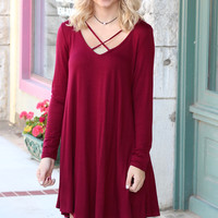 Long Sleeve Strappy Chest Tunic Dress {Burgundy}