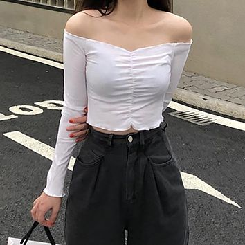 Slash Neck Long Sleeve T Shirt Women Solid Color Slim Fit Sexy Short Tshirts Casual All-match Crop Tops New Camisetas