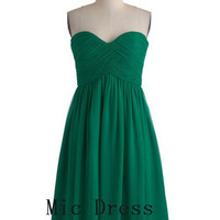 New arrival sweetheart sleeveless mid-calf pleated chiffon short Prom/Evening/Party/Homecoming/Bridesmaid/Cocktail/Formal Dress