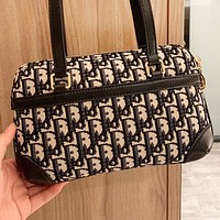 Dior New fashion more letter print canvas shoulder bag handbag Black