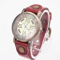 MagicPieces Red Cow Leather Belt Watch with Big Round Dial 64 WDP 0617