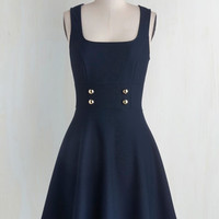 Scholastic Mid-length Tank top (2 thick straps) A-line Delightfully Charming Dress in Navy