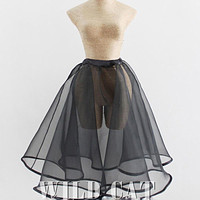 Pin-Up Petticoat Ball Gown Skirt Tulle Organza Vintage Underskirt One Size Fits All Black or White