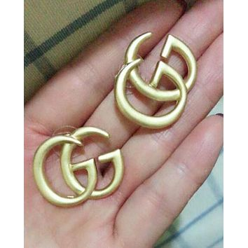 GUCCI Fashion Women Retro Personality Big GG Logo Earrings Jewelry